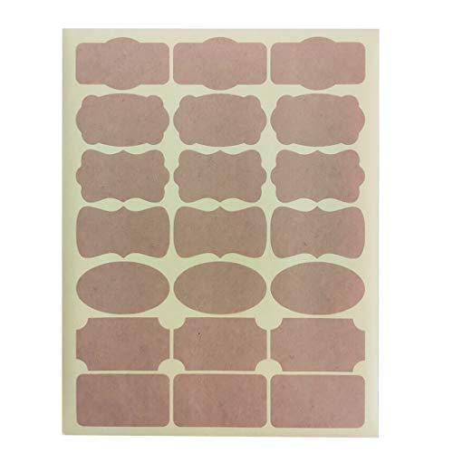 Mr-Label® 7 Tipos de Forma de lujo de Brown Kraft etiquetas engomadas adhesivas -Self para la decoración de regalos | arte de la mano | Finishing Touch | Botellas (Tamaño: 63.5 * 36.1mm, 10 hojas / Total 210pcs etiquetas)