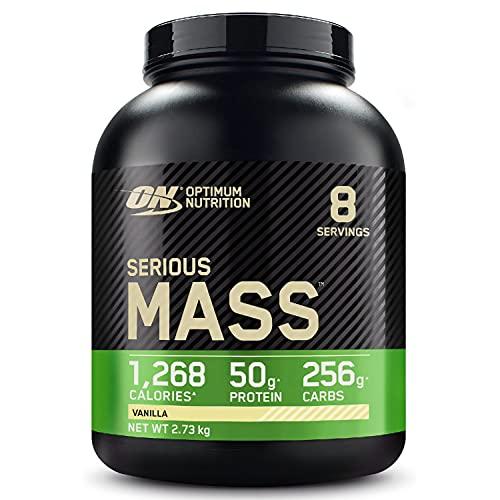 Optimum Nutrition Serious Mass Gainer, Proteine Whey in Polvere per Aumentare la Massa Muscolare con Creatina, Glutammina e Vitamine, Vaniglia, 8 Porzioni, 2.73 kg, il Packaging Potrebbe Variare