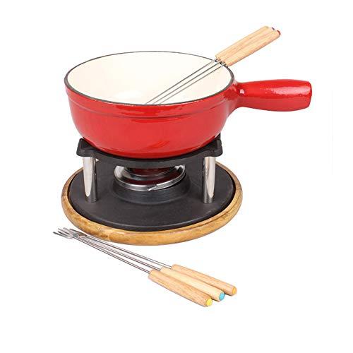 Fondue Gietijzeren Pot Stuur Zes Vork Houtlade Chocolade of Kaas Porselein Sets Warmer Fondue en Chocolade Smelting Pot Set voor Party Hot Red
