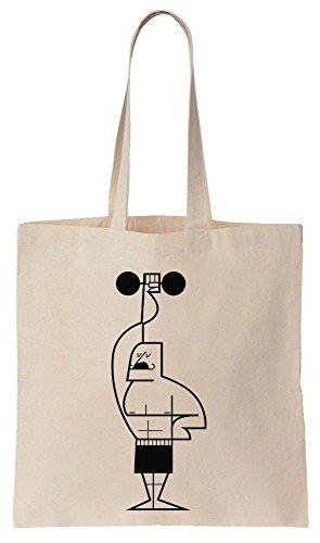 Finest Prints Man Lifting Weights Minimalistic Linear Design Tote Bag Bolsos de Compras Reutilizables de Algodón