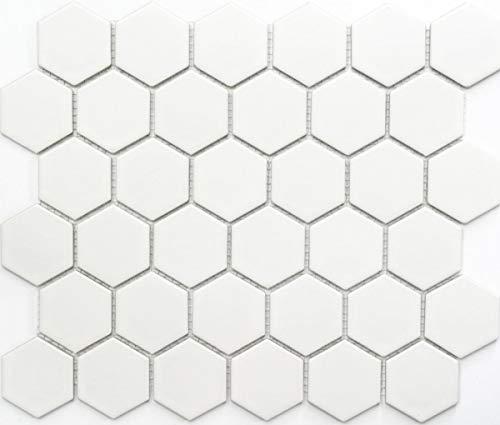 MOS11B-0111 - Azulejos de cerámica (forma hexagonal), color blanco mate