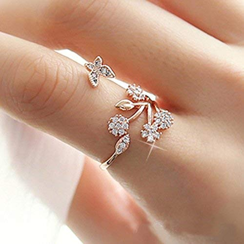 925 Sterling Silver Adjustable Size Butterfly Trees Engagement Ring for Color Silver, Rose Gold (one size,Silver)