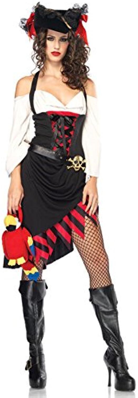 Verruchte Piratin Damenkostüm schwarz weiss rot S M