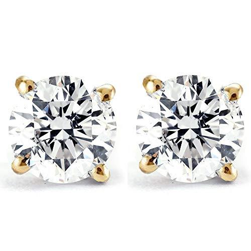 1/4Ct Round Diamond Stud Earrings in 14K Yellow Gold Classic Setting
