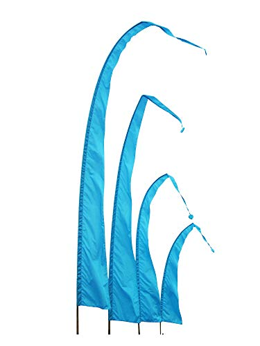 DEKOVALENZ Balifahnen-Stoff SANUR |mit herzförmiger Spitze | Umbul Asien-Fahnen | Fahnenlänge: 3 Meter | Farbe: Türkis