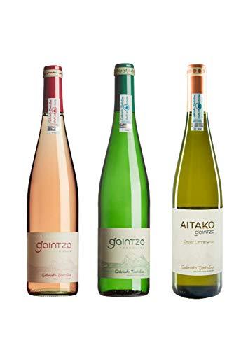 Txakoli Gaintza, Roses y Aitako, PACK MIXTO, caja de 3 botellas, denominación de origen Getariako Txakolina -...