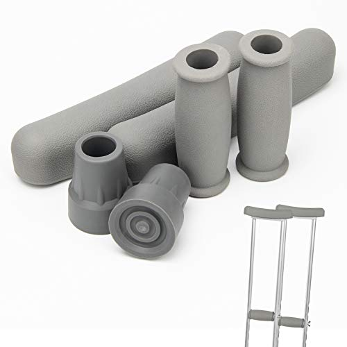 Replacement Crutch Pads, Ahier Padding for Walking Arm Crutches, Hand Grips, and Feet Caps, Fits Standard Aluminum Crutches 6 Pieces-Set