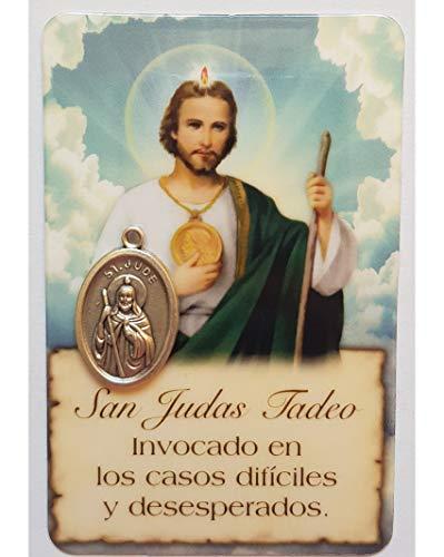 Estampa San Judas Tadeo, con Medalla, tamaño Tarjeta, PVC, con