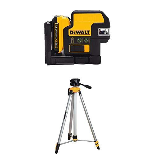 DEWALT DW0825LG 12V 5 Spot + Cross Line Laser, Green with DW0881T Laser Tripod