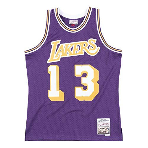 Mitchell & Ness NBA Wilt Chamberlain Los Ángeles Lakers 1971-72 Swingman Hardwood Classics - Camiseta de manga corta, color morado, color multicolor, tamaño medium
