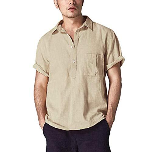 Camiseta de algodón de Moda atlética para Hombre - Camisa básica Europea y Americana con Botones de Solapa y Manga Corta Medium