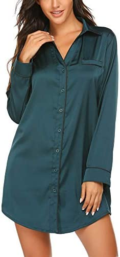 Ekouaer Silk Nightshirt Long Sleeve Loungewear Satin Sleepwear Top Satin Night Dress for Women product image
