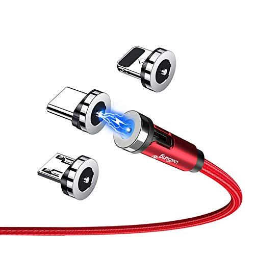 LoudSung Cable magnético giratorio 540 de carga rápida con múltiples ángulos, cargador de imán de giro, micro USB tipo C, cable de teléfono móvil para iOS/iProducts 3 en 1 (paquete de 2)