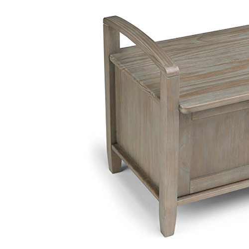 Product Image 4: SIMPLIHOME Warm SOLID WOOD 44 inch Wide Entryway Storage Bench with 3 Doors, Multifunctional Rustic inDistressed Grey