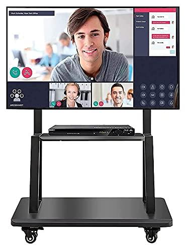 Soporte de TV alto para dormitorio con mesa giratoria de almacenamiento, compatible con pantallas LCD LED de 43 a 75 pulgadas (color negro)