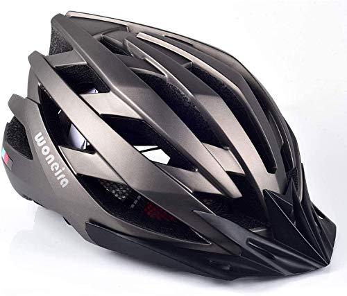 WONEIRA Casco Bici, MTB con Visiera e Luce di LED Rimovibile Casco da Ciclismo Casco Leggero da Bicicletta per Uomo e Donna Protezione Stradale per Biciclette
