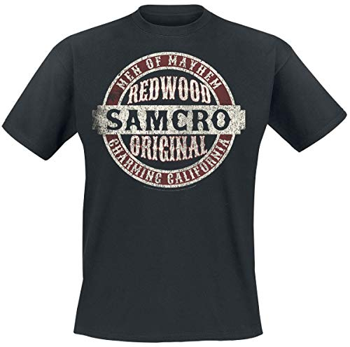 Sons of Anarchy Samcro Original Hombre Camiseta Negro L, 100% algodón, Vintage Regular