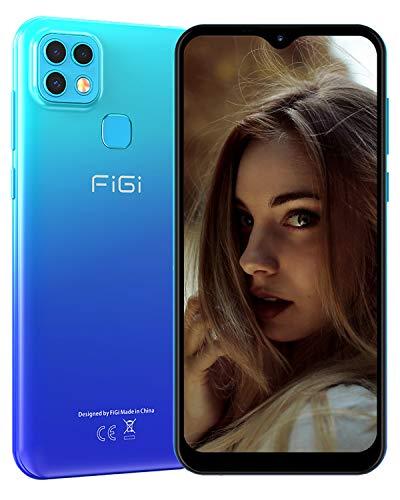 FiGi Note 1 Pro Smartphone ohne Vertrag 4G Handy - 6,6 Zoll HD+ Display 4000mAh Akku, 18MP+8MP+2MP Kamera, 4GB RAM/128GB ROM, Dual SIM Android 9 Handy - GPS/Face ID/Fingerabdruck – Blau