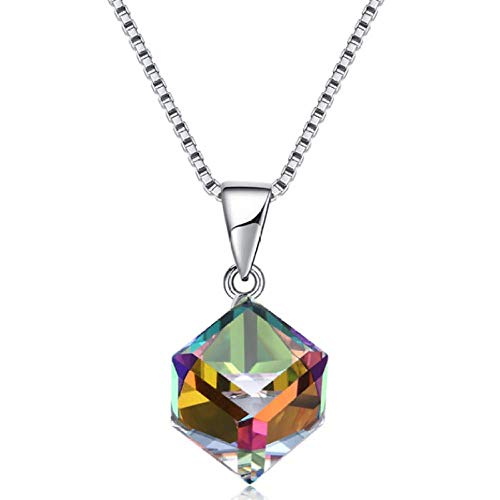 N/H Collar de plata925 Plata de Ley Mujer Collares con Colgantes Diamante Rombo Collar de Cristal Regalo para Damas Joyas Chica