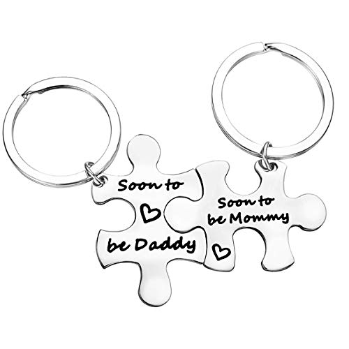 Father's Day Gift Baby Announcement Keychain Son to Be Daddy/Mommy...