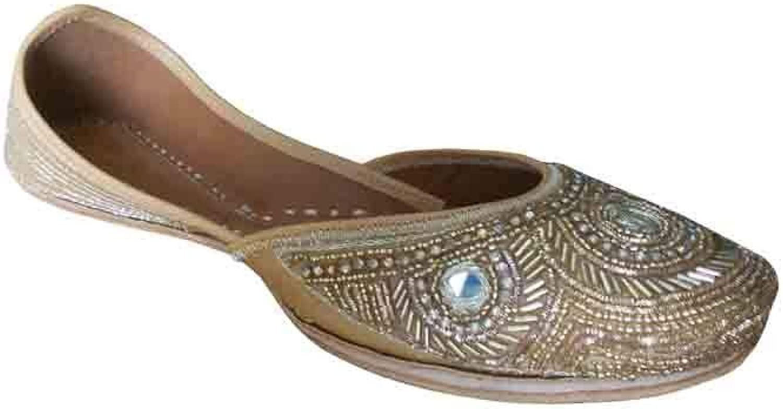 Kalra Creations Jutti Indian Women shoes Punjabi Mojari Leather Flip-Flops Handmade Flat gold