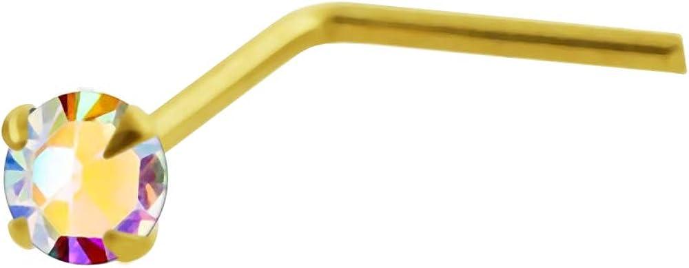 9 Karat Yellow Gold Claw Set Rainbow Round Crystal Stone 22 Gauge L Shape Nose Stud Piercing Jewelry