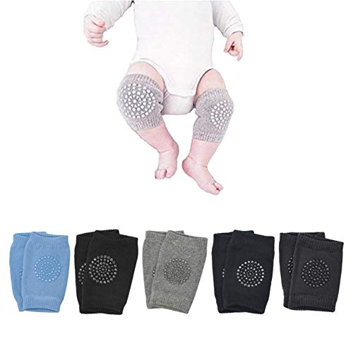 Baby Knee Pads, Anti-Slip Leg Warmers Unisex Toddlers Kneepads Learn to Socks Infant Short Elbow Protectors for Crawling and safety Walking (5 Pairs)