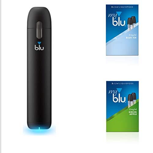 Starter Set mit E-Zigarette Vape Device myblu + 2 Doppelsets Liquids + Geschmack Blue Ice und Green Apple - Ohne Nikotin - 350 mAh USB Ladestecker + Gratis Leuchtlupe und Soft Touch Pen