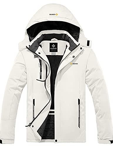 GEMYSE Chaqueta de Esquí Impermeable de Montaña para Hombre Abrigo de Invierno de Lana Antiviento con Capucha (Blanco 83,L)