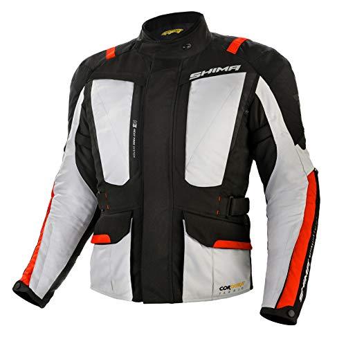 SHIMA HERO Chaqueta Moto Hombre -Toda Estaciones Cazadora Moto Cordura Textil Hombre con membrana impemeable capa calefactora CE protecciones, ajuste de la anchura (Gris, S)