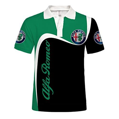 Unisex Herren Sommer Kurzarm Polo Shirt 3D Digital ALFA Romeo Logo Print Top Lässig Sweatshirt (1,4XL)