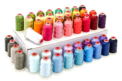 Review Polyester Machine Embroidery Thread - 50 Large Spools - 1000M - Kit for Beginner and Professi...