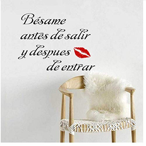 Besame Antes de Salir y Despues de Entrar Spanisch Zitat Vinyl Wandaufkleber für Schlafzimmer Dekor 42x31cm