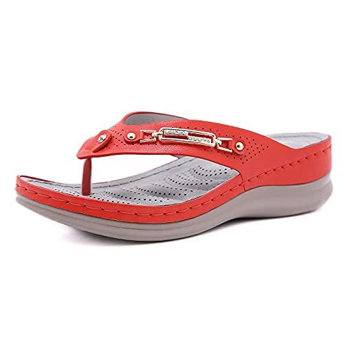 Ladies sandaler, flops kilklack flip med hålfotsinlägg Non-slip artificiell PU tofflor Ihåliga öppen tå vada skor,Red,39