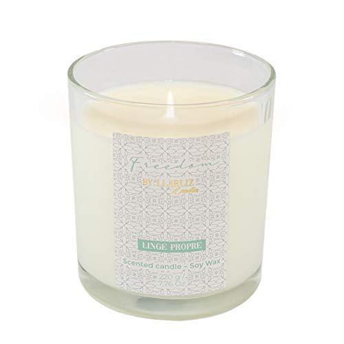 Vela perfumada aromática Freedom 220g   Aroma ROPA LIMPIA   50 HORAS   Cera de SOJA natural   Envase de vidrio reutilizable   Velas perfumadas LLARLIZ Candles