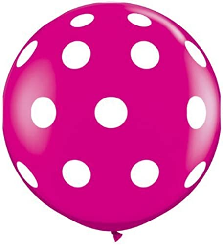 Wild Berry Rosa Big Polka Dots-A-Round Giant 3ft Qualatex Latex Balloons x 2 by Qualatex