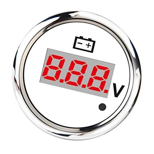 Medidor electrónico voltímetro Digital de Voltaje voltios El LED Rojo del medidor 2inches 52mm for Auto Vehículo - Blanco