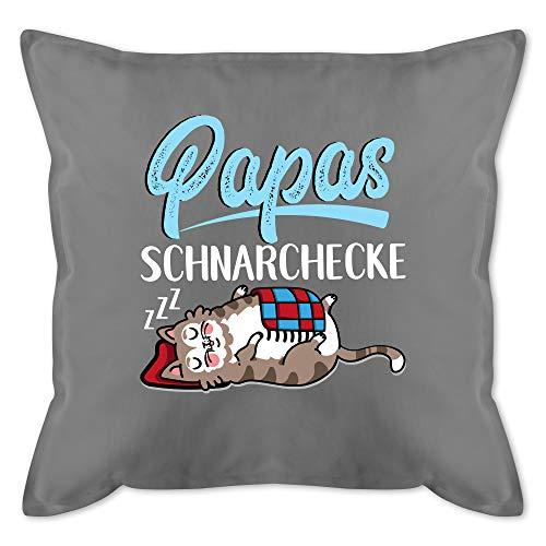 Vatertagsgeschenk Kissen - Papas Schnarchecke Katze - weiß/blau - Unisize - Grau - Papa schnarchecke 50x50 - GURLI Kissen mit Füllung - Kissen 50x50 cm und Dekokissen mit Füllung