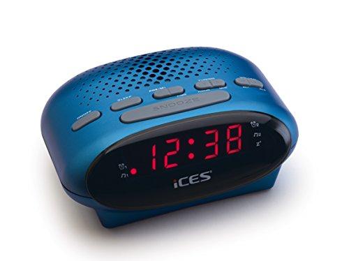 iCES ICR-210 Uhrenradio - Radiowecker mit 2 Weckzeiten - PLL FM - Schlummerfunktion - Sleeptimer - Gangreserve - blau, klein, ICR-210 Blue
