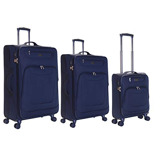 Karabar Set of 3 Expandable Lightweight Suitcases Luggage Bags Small Carry-on Cabin, Medium and Large Soft Shell Sets with 4 Spinner Wheels and Integrated TSA Number Lock, Mayfair Navy