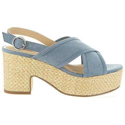 Mustang Sandalias Tacón Esparto Azules - Color - Azul, Talla Zapatos Mujer - 41
