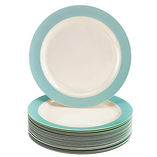 """DISPOSABLE BABY SHOWER PLATES - Heavy Duty Plastic Dishes - Elegant Fine China Look - Pastel Collection – Turquoise (20 PC - 7.5"""")"""