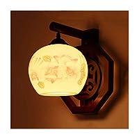 LYLSXY ウォールランプの壁のランタンの壁sconceの壁のライトの壁のランプsconceの壁のランプセラミックの壁の光、ソリッドウッドe27ランプホルダー、ポーチコリドー階段レストランカフェの装飾照明,A.