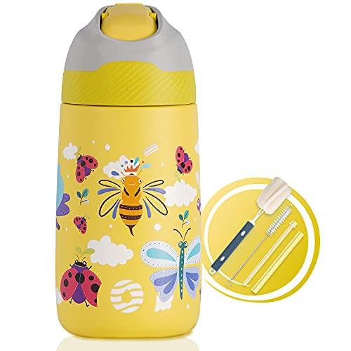 FJbottle Borraccia Bambini Acciaio Inox con cannuccia 350ml, Borraccia Termica senza BPA, bottiglia da viaggio per scuola, campeggio