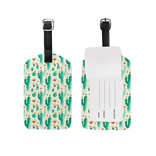 Cactus Cowboys On Desert PU Leather Luggage Bag Tags Suitcase Labels,2 pcs Style40615