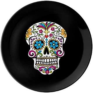 VunKo Dia De Los Muertos 8 Inch Plate Ceramic Dinner Plate Sugar Skull Dinnerware Stoneware Home Decro Round Dish Dessert Plate Black