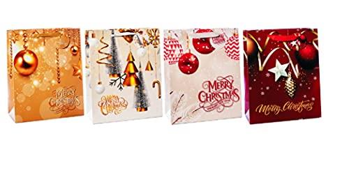 Bolsa de regalo de papel de 33 x 10 x 46 cm, 4 decoraciones