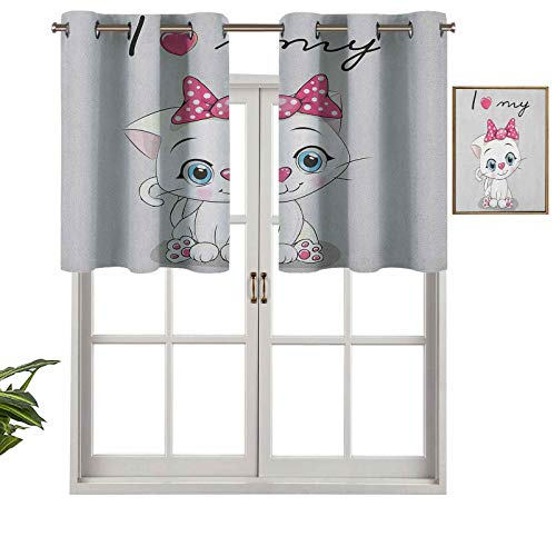 Hiiiman Extra Short Length Insulated Thermal Window Panel Cute Cartoon Domestic White Cat Pink Cheeks Fluffy I Love My Pet Themed Print, Set of 1, 52'x18' Home Decorative Blackout Panels for Bathroom