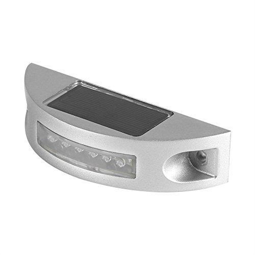 Zerodis LED Lámparas Solares, 6 LED de fundición de Aluminio accionado Solar Paso de la Calle al Aire Libre Impermeable Entrada Camino luz(Blanco)