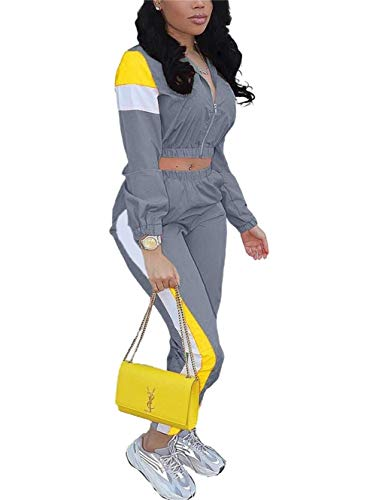 EOSIEDER 2 Piece Outfit Sets for Women Crop Top Zip Jacket Active Top & Bottom Sets 2020 Summer Grey Small Size 0-2